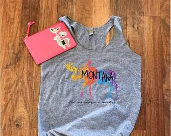 Montana Moose tank/Montana Shirt/Moose shirt/Ladies tee/montana Life/Montana Gifts/Montana state/Montana t-shirt/Montana Clothing/retro