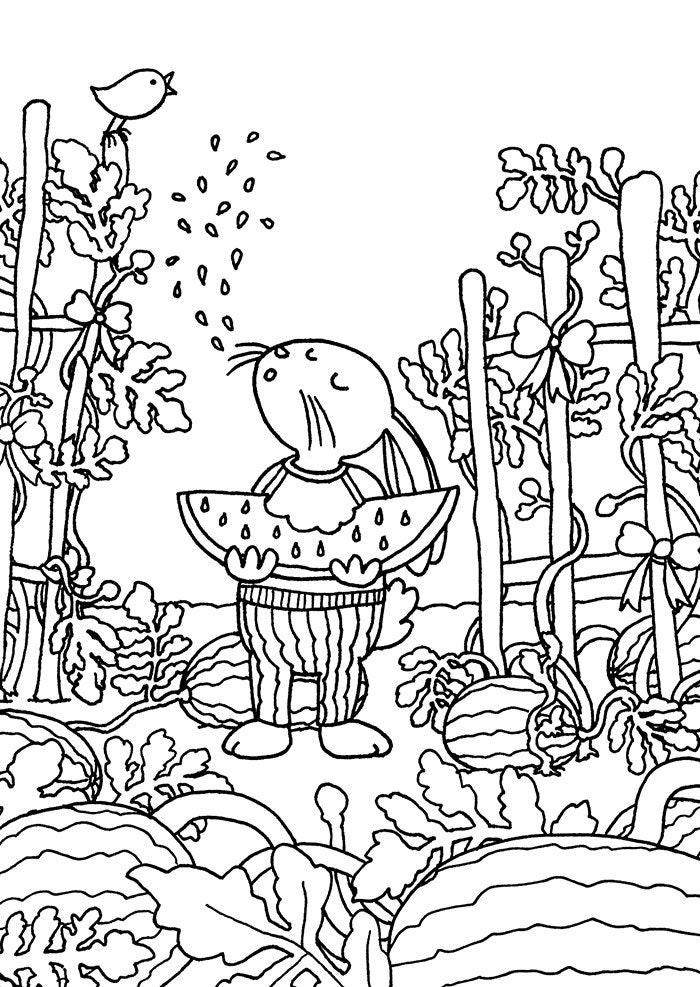Wassermelone Patch Färbung Karte A6 Wassermelone ausmalen | Etsy
