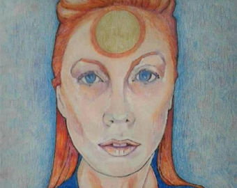 Colored pencil -Ziggy Stardust girl