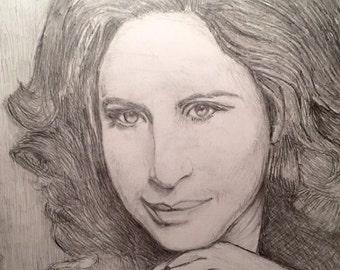 Barbara Streisand Watercolor Painting Barbra Streisand