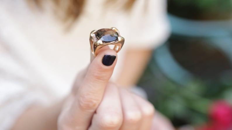 Round Ring Smokey Quartz Ring Engagement Ring Brown Ring Gifts Gold Ring Bridal Jewelry Gemstone Ring Engagement Ring 30th Birthday