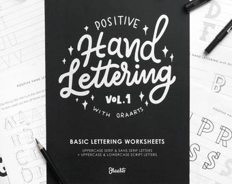 Hand Lettering worksheets, 64 pages, Basic lettering worksheets, Printable Practice Sheets, PDF file Only