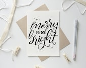 Merry and bright,Merry and bright card,Christmas card,Holiday card, hand lettered,Instant download,Christmas Cards,Holiday greetings,ink