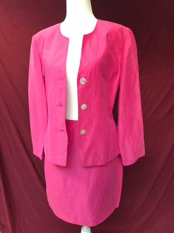 Vintage 90's pink skirt suit // silk & linen blen… - image 2
