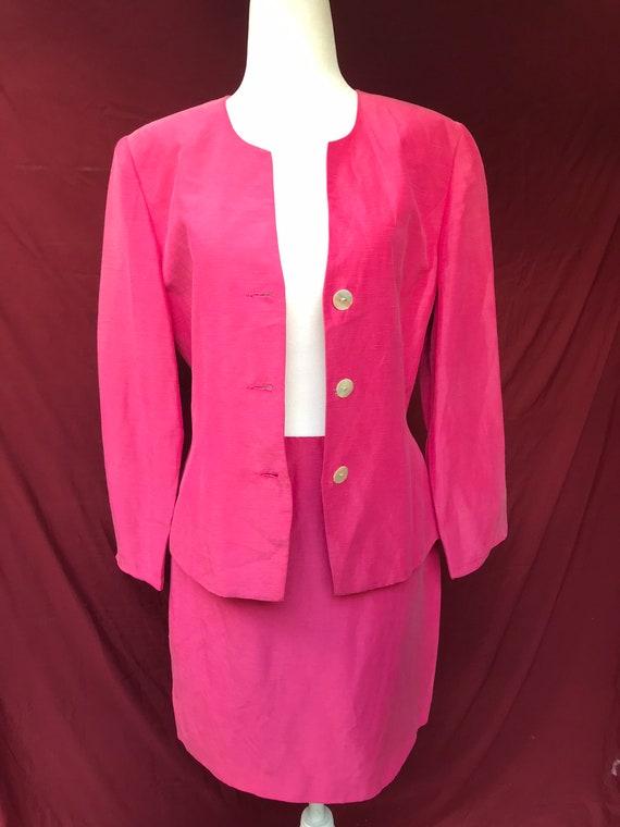 Vintage 90's pink skirt suit // silk & linen blen… - image 3