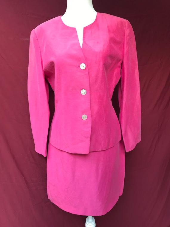 Vintage 90's pink skirt suit // silk & linen blen… - image 4