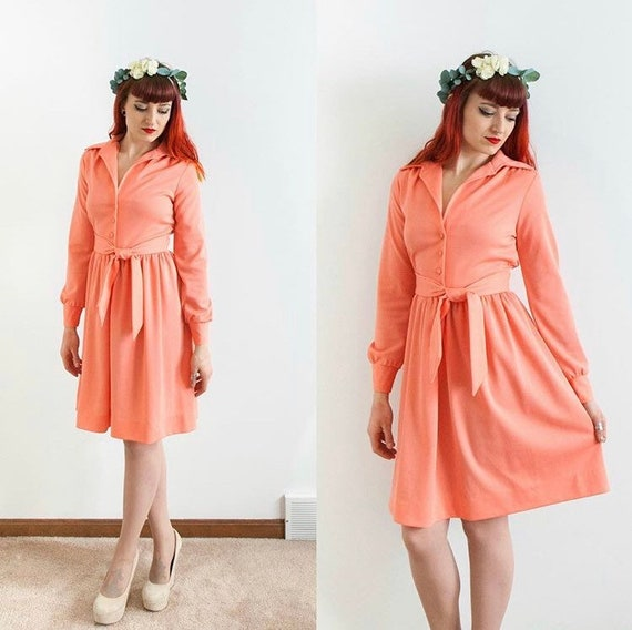Peach 70's shirt dress // size small