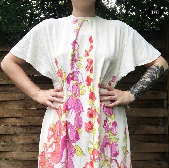 60's terry cloth swim coverup dress // floral terr