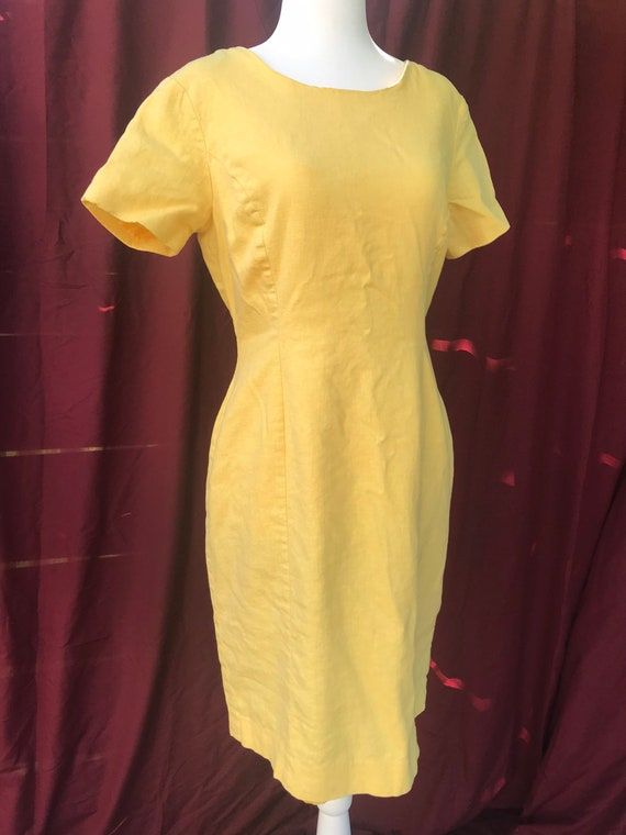 Vintage bright yellow linen blend dress // vintage