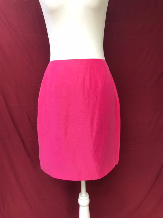 Vintage 90's pink skirt suit // silk & linen blen… - image 5