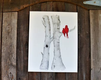 Watercolor Lovebirds on Birch Trees Hand painted, Original art, Wall art, Canvas, Birds, Birch, Tree, Grey, Wedding gift, Anniversary gift,