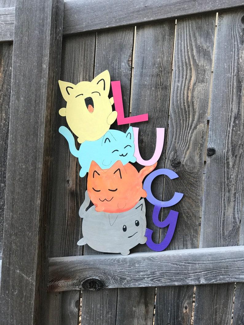 Wooden Stacked Cats Name Sign | Girls or Boys Room Decor | Kawaii Cats |  Tween Room decor | Girl or Boy Nursery Decor | 16