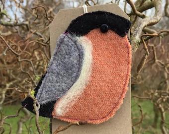 Billy Bullfinch Brooch/ Pin. Handmade from wool Tweed.  Christmas present// stocking filler// secret Santa
