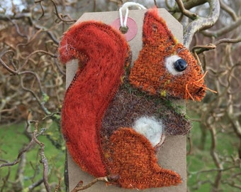 Sally the Red squirrel brooch/ pin. Handmade from Harris Tweed.  Christmas present// stocking filler// secret Santa