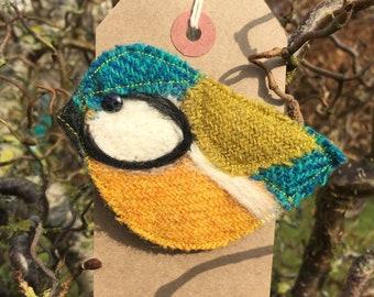 Louie Blue Tit Bird Brooch/ Pin. Handmade from Harris Tweed.  Christmas present// stocking filler// secret Santa
