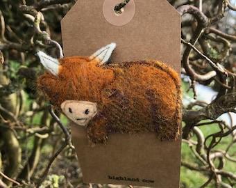 Muriel the Highland Cow Brooch/ Pin. Handmade from wool tweed.  Christmas present// stocking filler// secret Santa