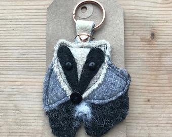 Handmade Harris Tweed Barney Badger Keyring/ keychain. Backed with vintage leather. Christmas present// stocking filler// secret Santa