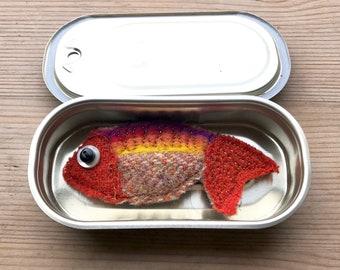 Whoopie Goldfish brooch/ pin. Handmade from wool tweed. Christmas present// stocking filler// secret Santa