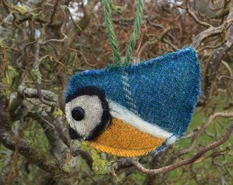 Handmade tweed Louie Blue Tit hanging Decoration/ Tree Ornament.  Christmas present// stocking filler// secret Santa