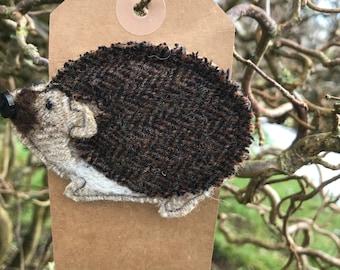Reggie the Hedgehog brooch/ pin. Handmade from wool tweed.  Christmas present// stocking filler// secret Santa