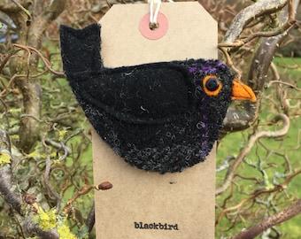 Jack Blackbird brooch/ pin. Handmade from Harris Tweed.  Christmas present// stocking filler// secret Santa