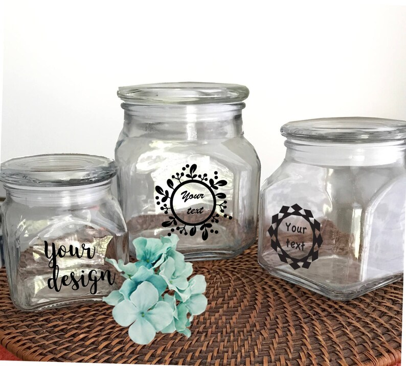 Personalized jar- Custom jar- Custom glass jar- candy jars- Kitchen jar-  air tight canister