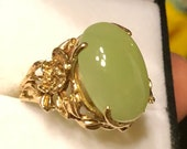 Antique 10k Jadeite Ring