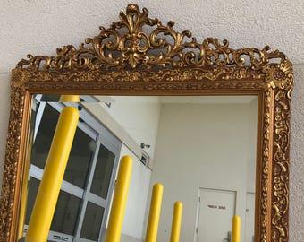 Antique brass mantel mirror