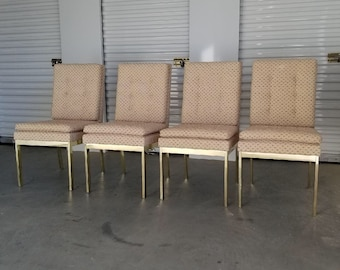 beca48cd06b5 Set of Four -DIA Brass Dining Chairs