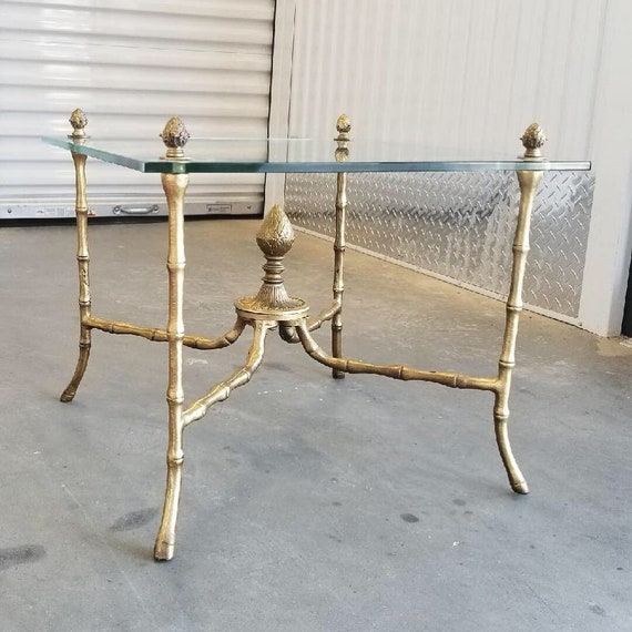 Gold Gilt Faux Bamboo Side Table Acorn Details | French Table