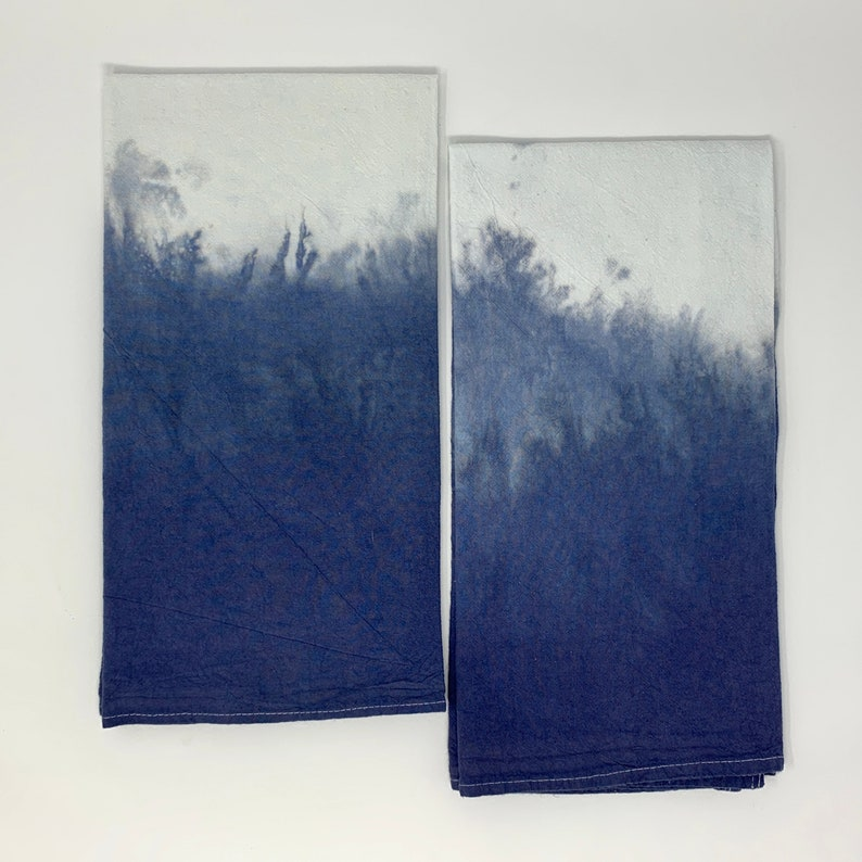 Hand Dyed Ombre Multipurpose Towel Kitchen Hand Towel Midnight Blue Ombr\u00e9 Flour Sack Tea Towel Housewarming Gift Dip Dyed Towel