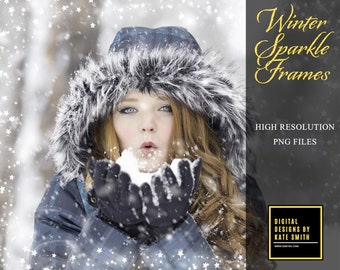 14 Winter Sparkle Frame Overlays, Separate PNG Files, High Resolution, Instant Download.