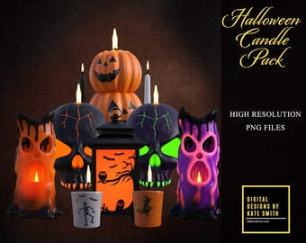 28 Halloween Candle Overlays, Separate PNG Files, High Resolution, Instant Download, buy 3 get 1 free, CUOK.