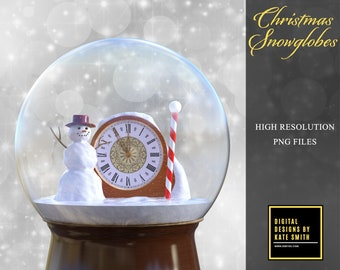 Christmas Snowglobe Overlays, Separate PNG Files, High Resolution, Instant Download, CUOK.