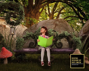 Hidden Garden Digital Backdrop / Background, High Resolution, Instant Download, Buy 3 get 1 free.