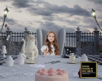 Wonderland Tea Party Digital Backdrop / Background, High Resolution, Instant Download, Buy 3 get 1 free, CUOK.
