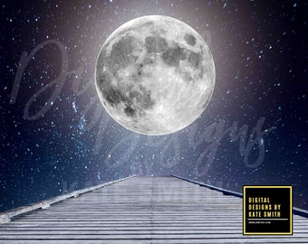 Buy 3 get one free. Walk To The Moon Digital Backdrop / Background, High Resolution, Instant Download.