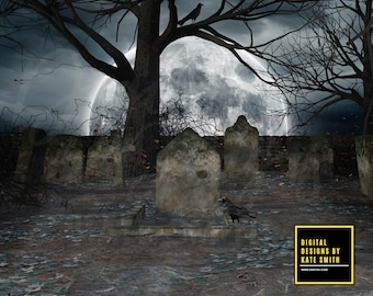 The Graveyard Digital Backdrop / Background, High Resolution, Instant Download, Buy 3 get 1 free, CUOK.