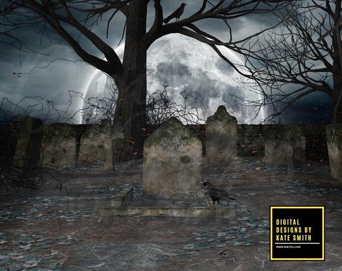 The Graveyard Digital Backdrop / Background, High Resolution, Instant Download, Buy 3 get 1 free, CUOK.