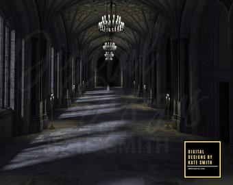Dark Hall Digital Backdrop / Background, High Resolution, Instant Download.