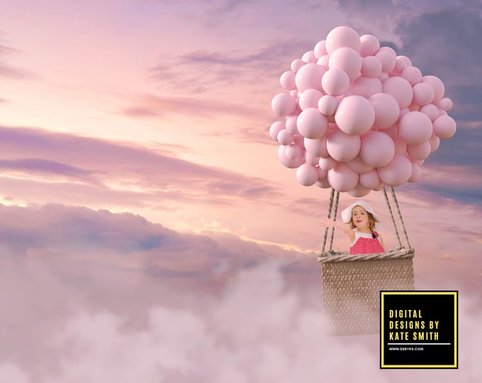 Sunset Balloon Ride Digital Backdrop / Background, High Resolution, Instant Download, Buy 3 get 1 free, CUOK.