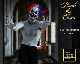 Psych the Clown Overlays, Separate PNG Files, High Resolution, Instant Download. CUOK