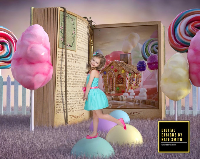 Candy Book Digital Backdrop / Background, High Resolution, Instant Download, Buy 3 get 1 free, CUOK.
