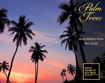 10 x Palm Tree Overlays, Separate PNG Files, High Resolution, Instant Download, CUOK.