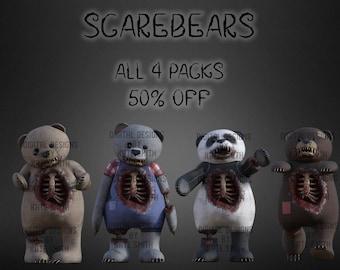 Scarebear Overlays, Bulk lot 4 packs 50% OFF! High Resolution Instant Download, CUOK, Great for Halloween / Dark Art.
