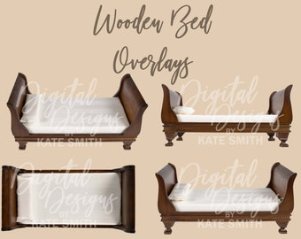 Wooden Bed Prop Overlays, High Resolution PNG Files with Transparent Backing, Instant Download.