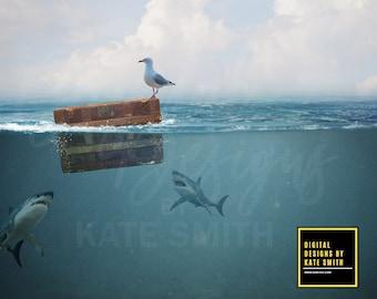 Underwater Digital Backdrop / Background, High Resolution, Instant Download.