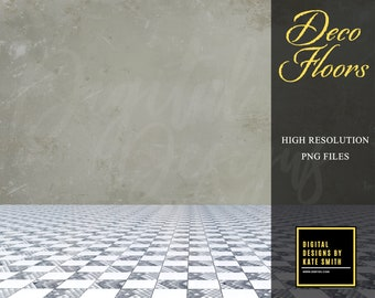 Deco Floor Overlays, Separate PNG Files, High Resolution, Instant Download, CUOK.