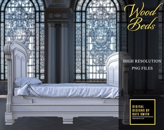 Wood Beds Overlays, Separate Png Files, High Resolution, Instant Download, Buy 3 get 1 free, CUOK.