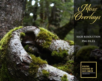 20 x Moss Overlays, Separate PNG Files, High Resolution, Instant Download, CUOK.